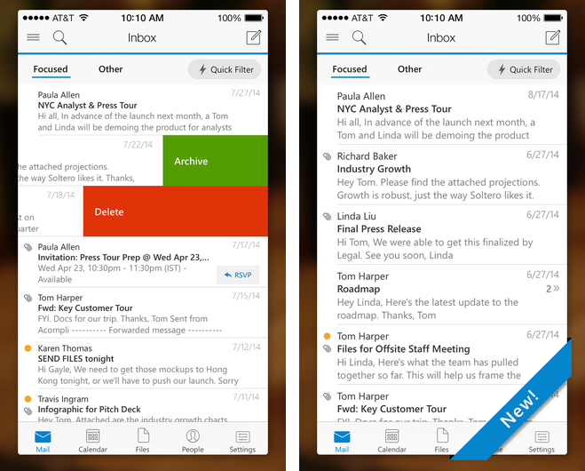 Microsoft Outlook 1.0 for iOS iPhone screenshot 001