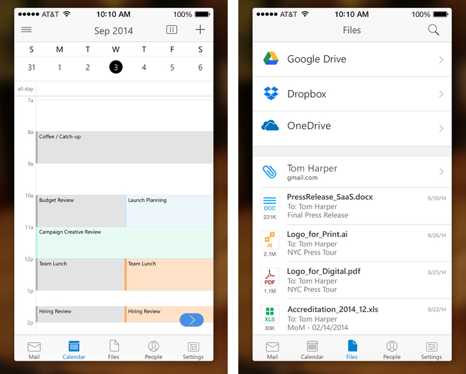 Microsoft Outlook 1.0 for iOS iPhone screenshot 002