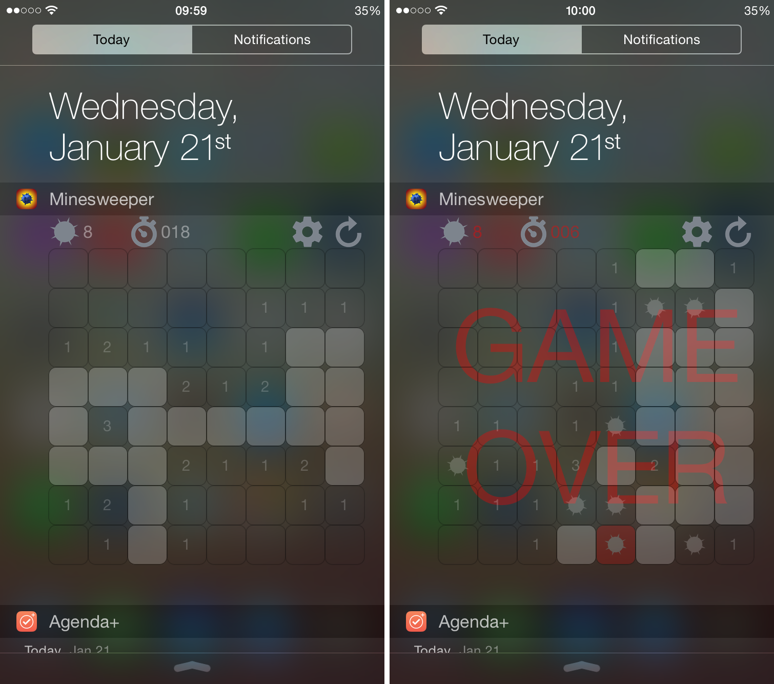 Minesweeper widget