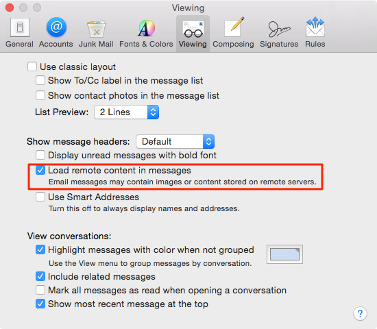 OS X Yosemite Mail Load Remote Content