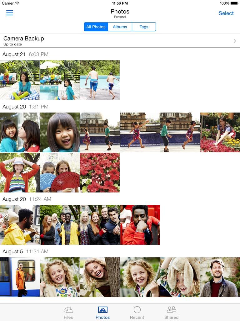 OneDrive 50 para la creación del álbum iOS captura de pantalla del iPad