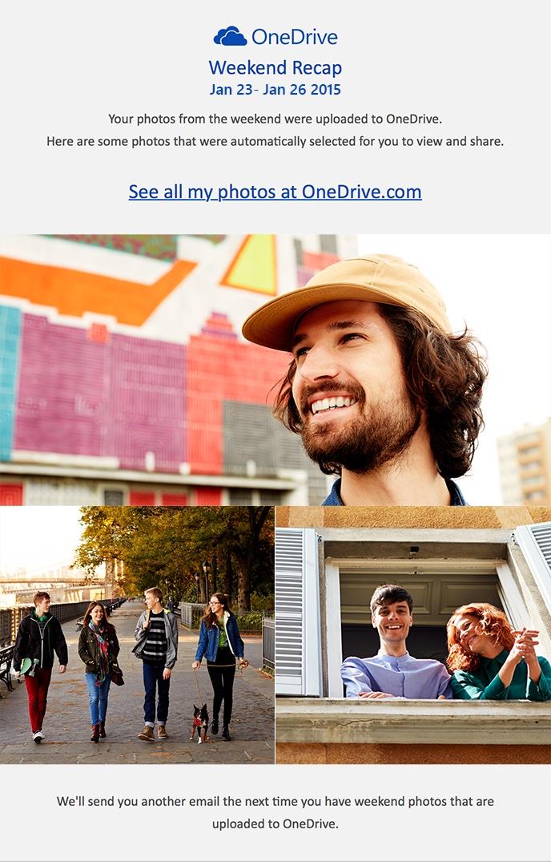 Captura de pantalla web de OneDrive Weekly Recaps