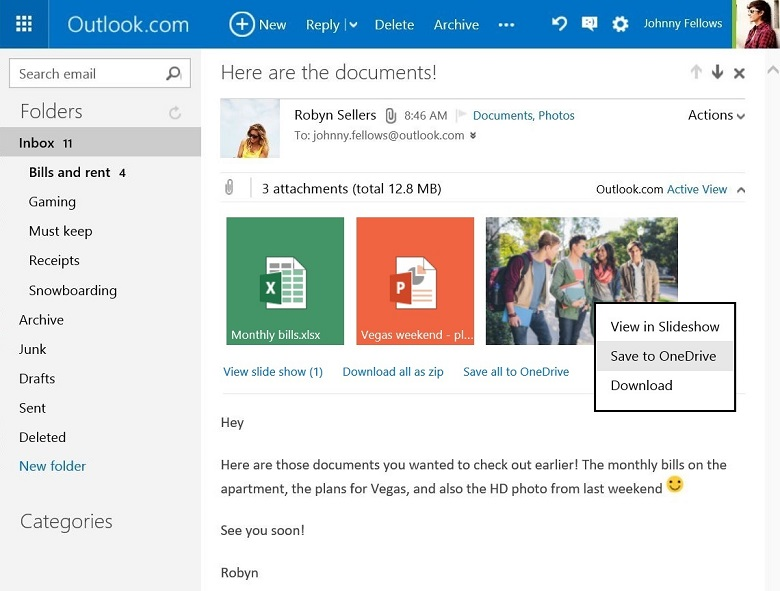 Captura de pantalla web de Outlook.com Save to OneDrive