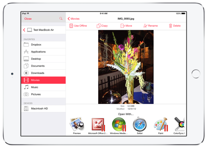 Parallels Access 2.5 for iOS file manager 001