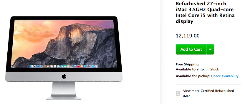 Refurbished iMac with Retina display