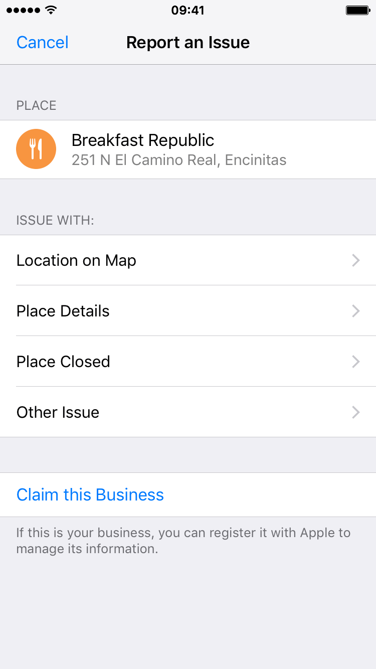 Report an issue with the location