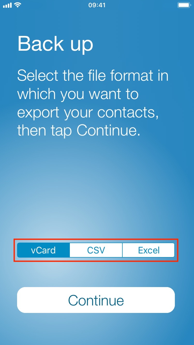 Choose what format to back up your contacts