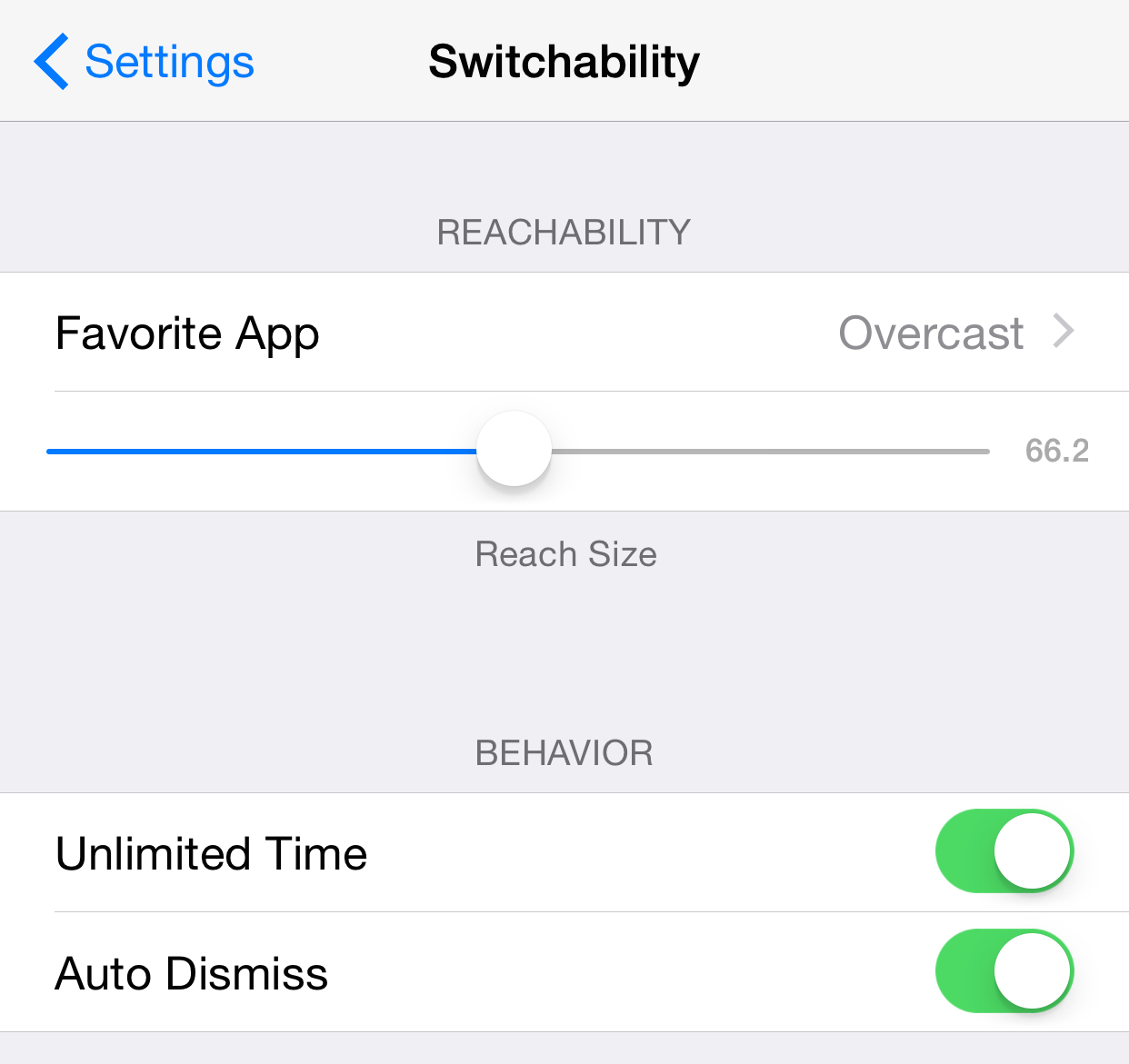 Switchability Settings