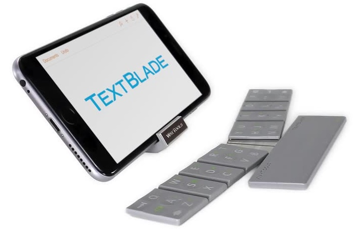 d34bb36f15b TextBlade physical multitouch keyboard collapses to just a third of iPhone  size