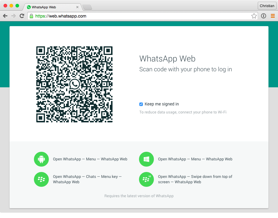 WhatsApp web app screenshot 001