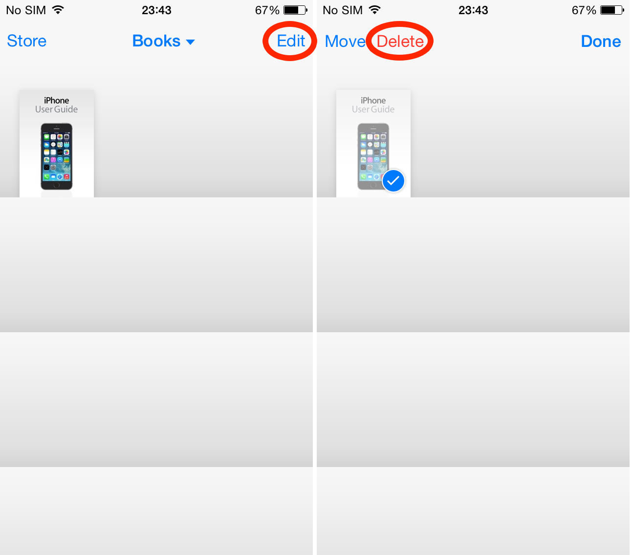 Select and delete the book in iBooks