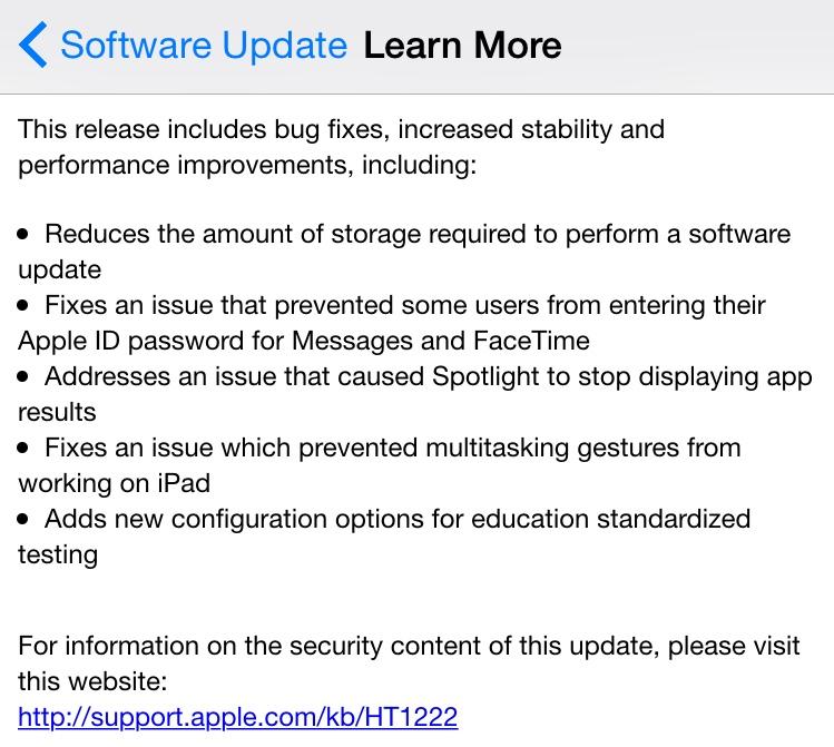 iOS 8.1.3 change log