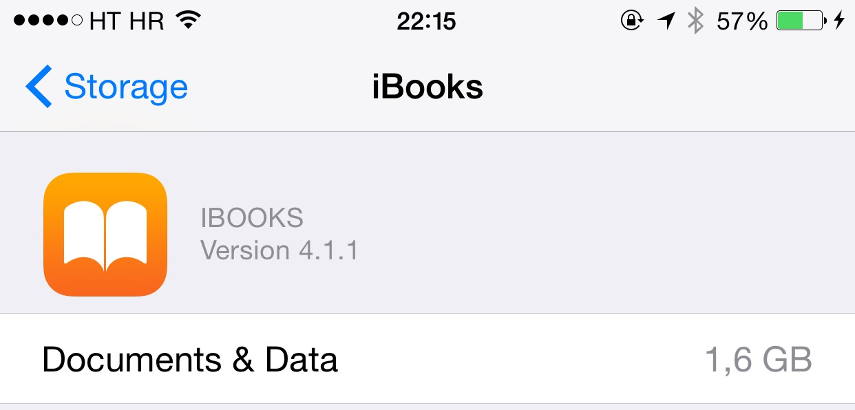 iBooks storage space used