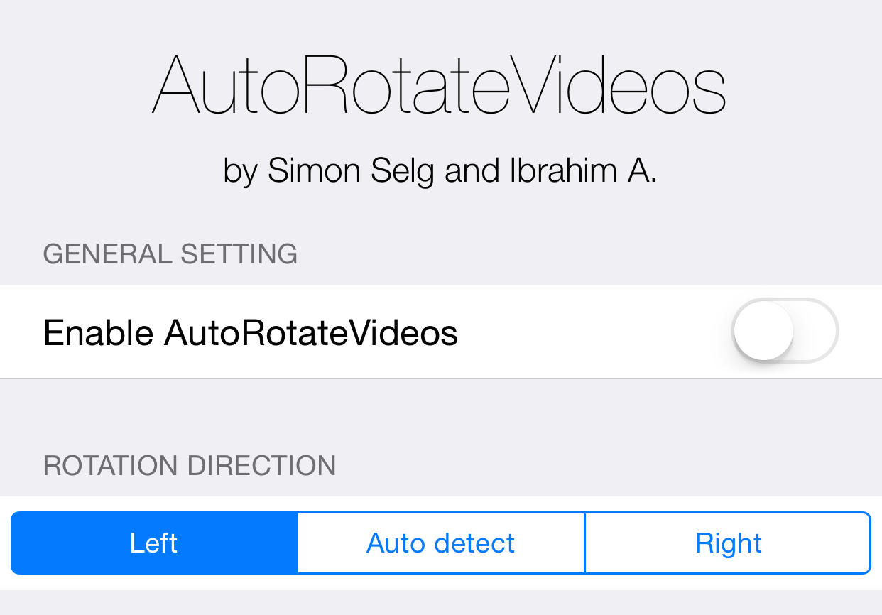 AutoRotateVideos Preferences