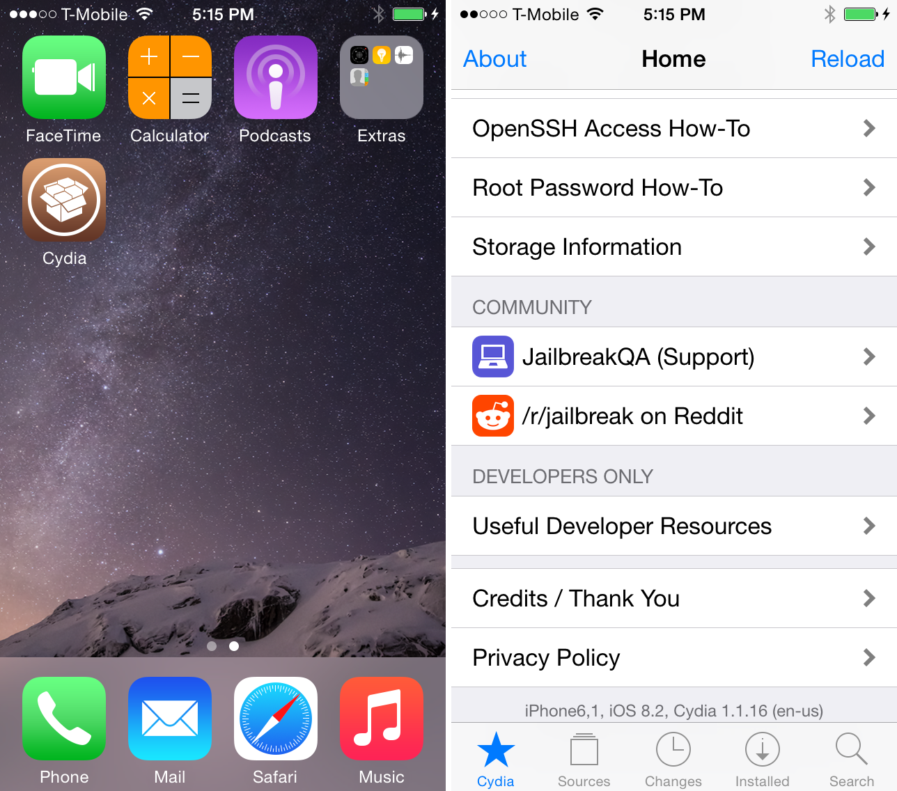 Cydia iOS 8.2 beta 2 iPhoen 5s