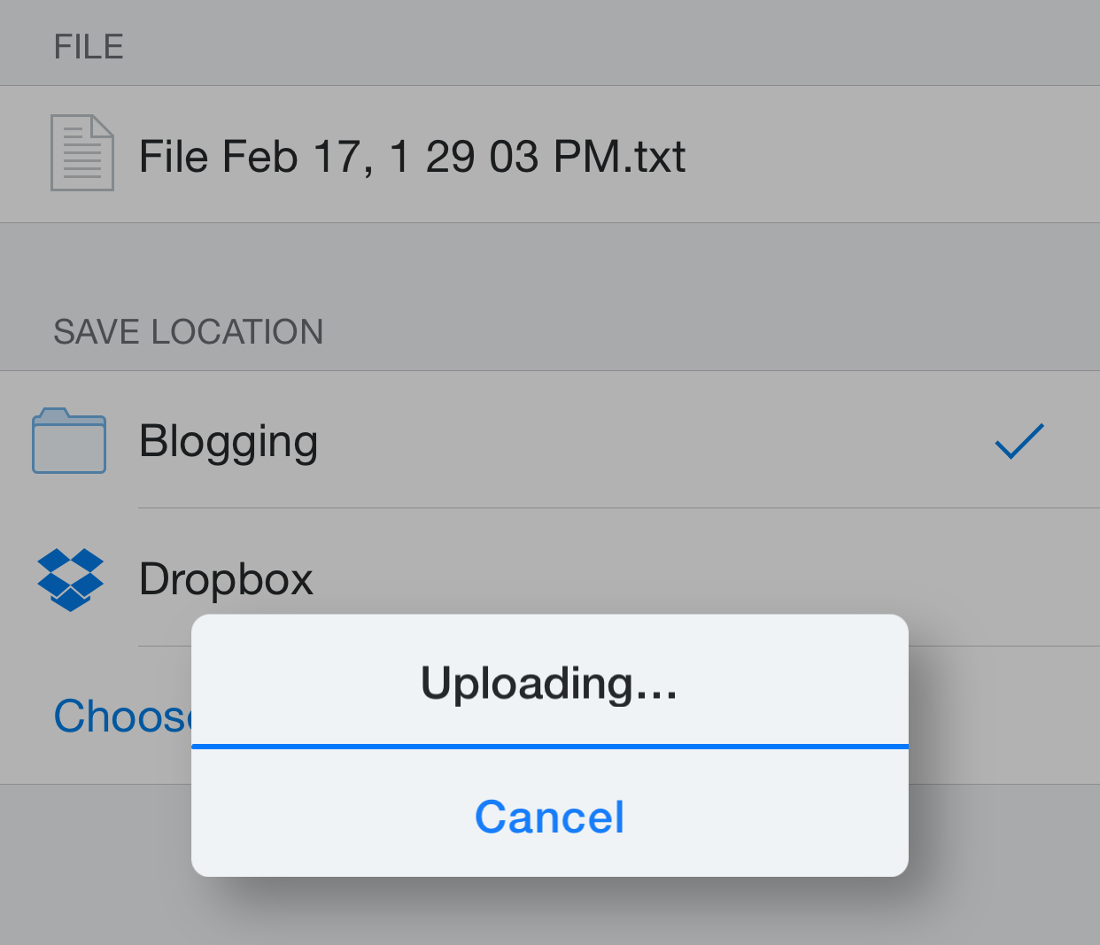Dropbox Action Extension Upload