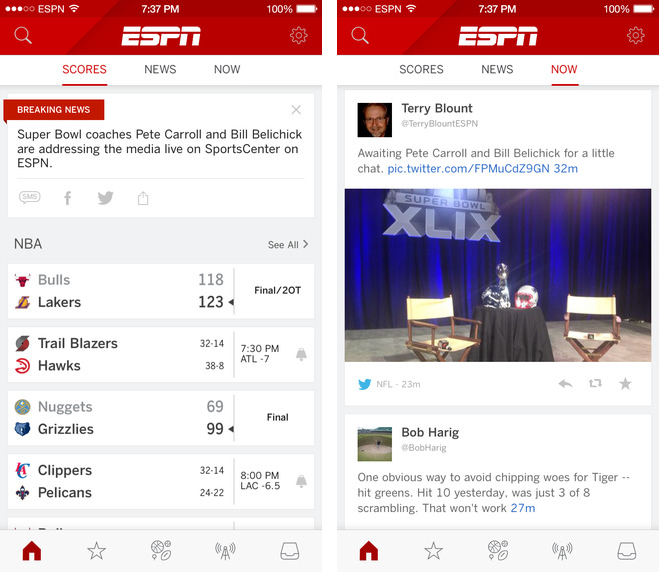 ESPN App 4.2 for iOS iPhone screenshot 001