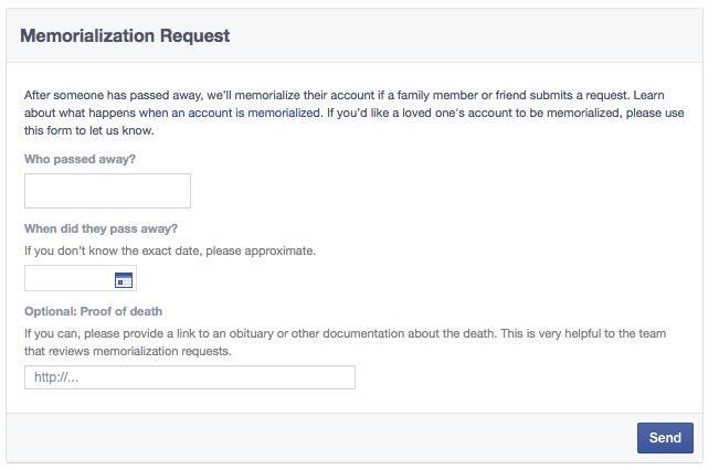 Facebook Memorialization Request web screenshot 001