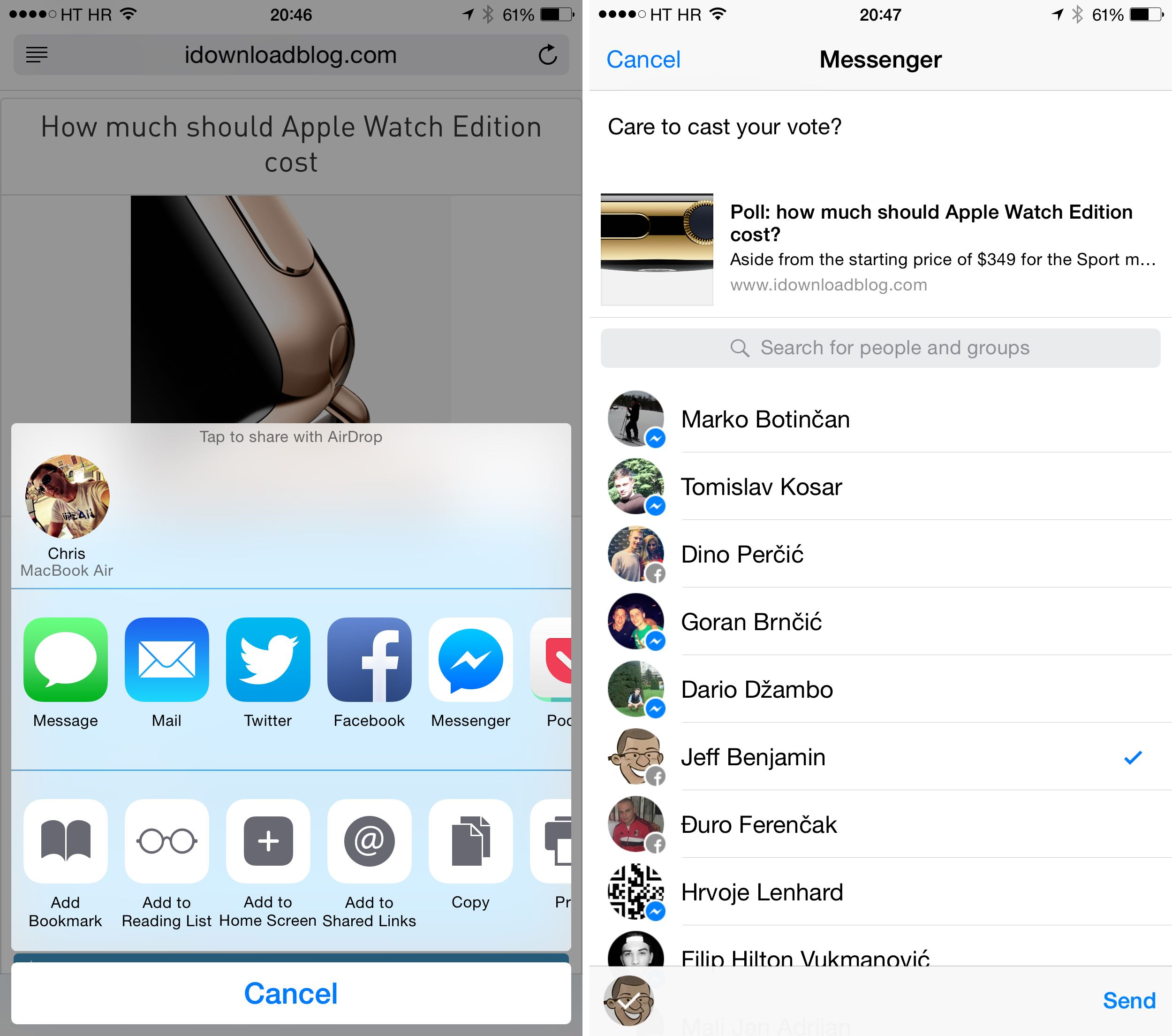 At last, Facebook Messenger gets native iOS 8 Share extension