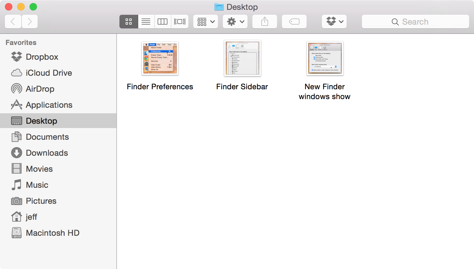 Set desktop as default folder in Finder