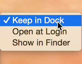 Keep app in Dock
