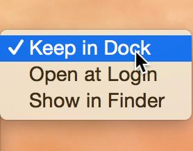 Mantenga la aplicación en el Dock
