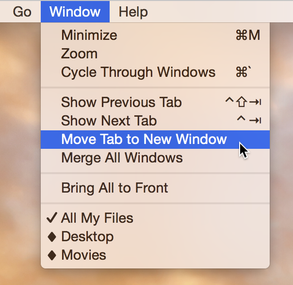 Move Tab to a New Window
