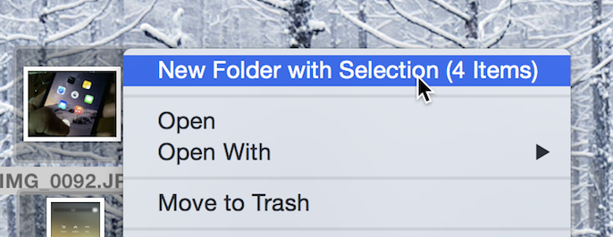 New Folder with selection on Mac