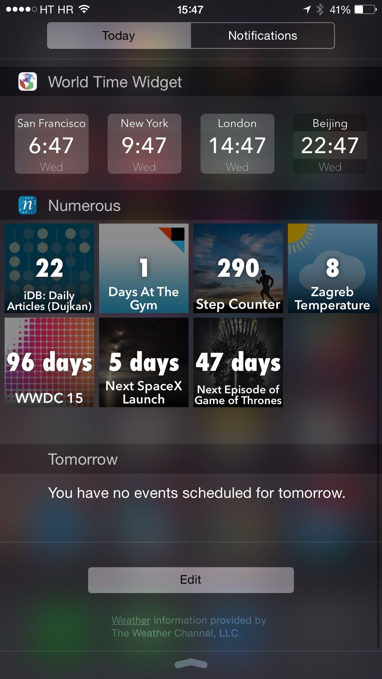 Numerous 2.2 for iOS Today widget