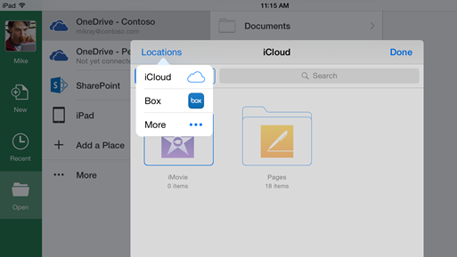 Office for iOS iCLoud integration