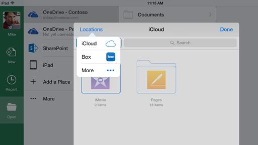Integración de Office para iOS iCLoud