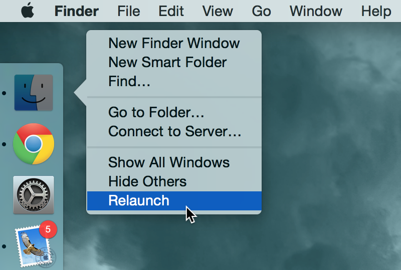 How to restart the Finder on Mac