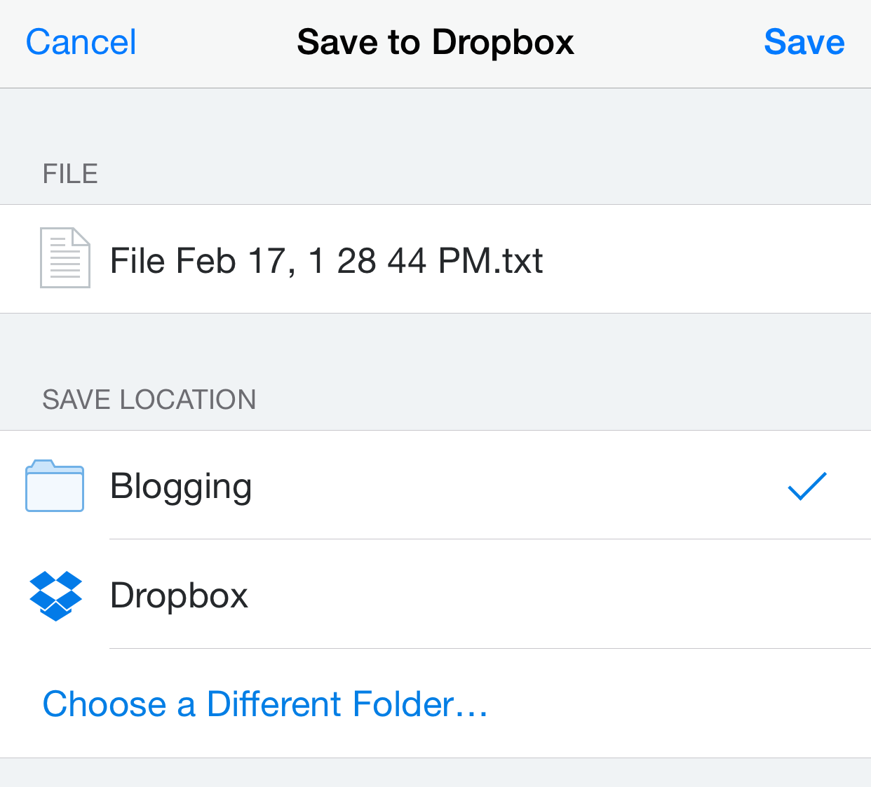 Save to Dropbox page