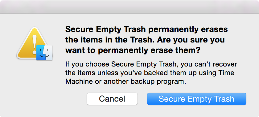 Secure Empty Trash Dialogue