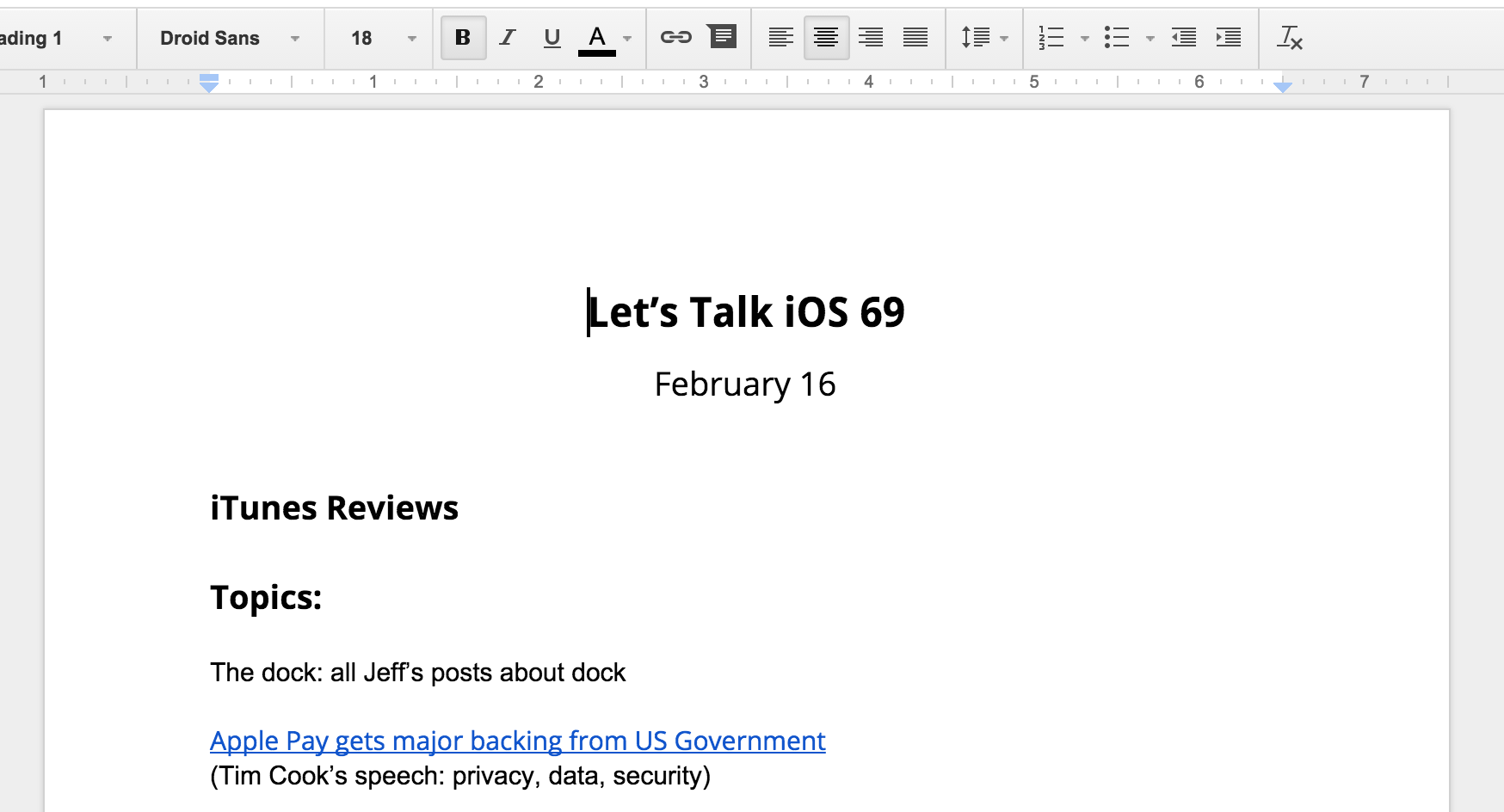 Show notes Google Docs