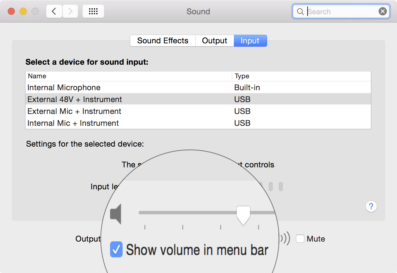 Show volume in menu bar