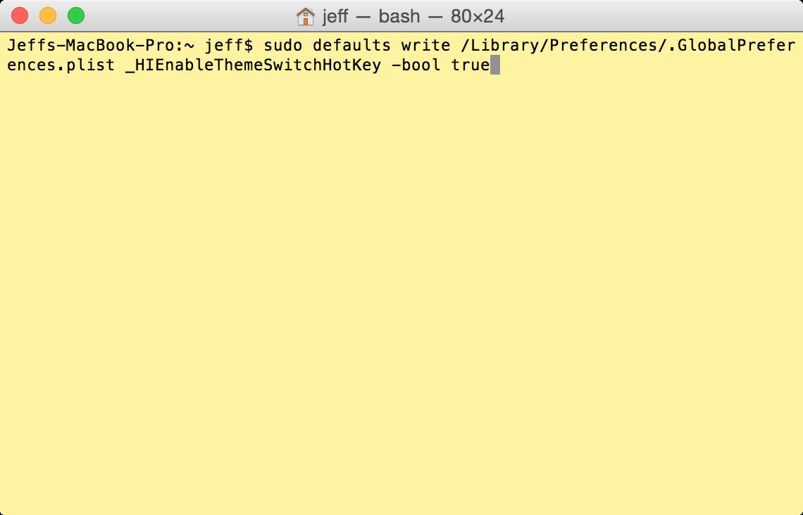 Terminal Enable Dark Mode Keyboard Shortcut
