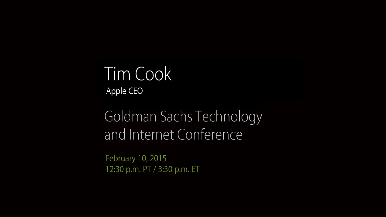 Tim Cook Goldman Sachs Technology Conference 2015