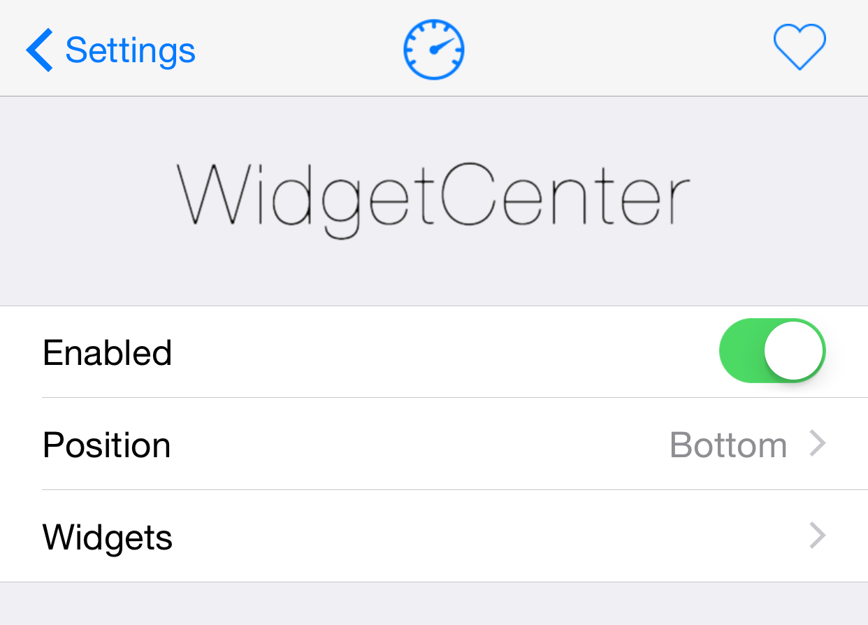 WidgetCenter Preferences