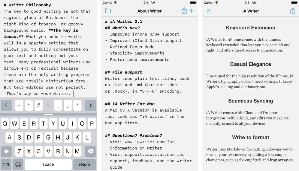 iA Writer for iOS iPhone screenshot 001