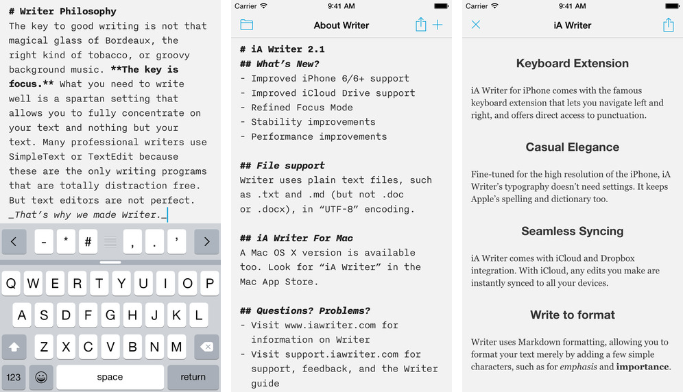 iA Writer, the popular iOS/Mac app for focused writing