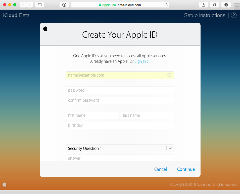 iCloud Beta Apple ID sign up process