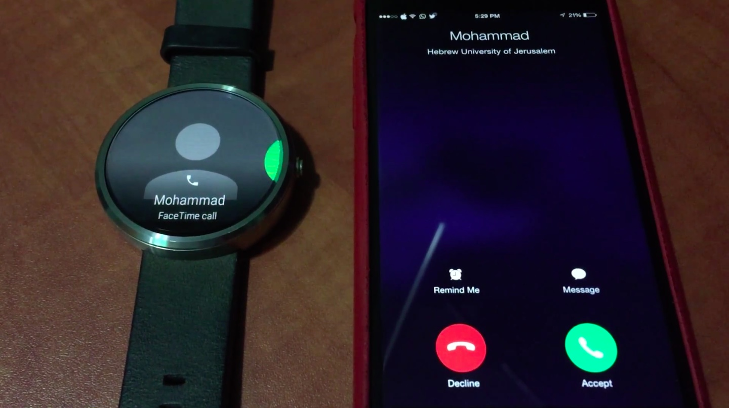 Android Wear accepting iPhone call Mohammad Abu-Garbeyyeh 001