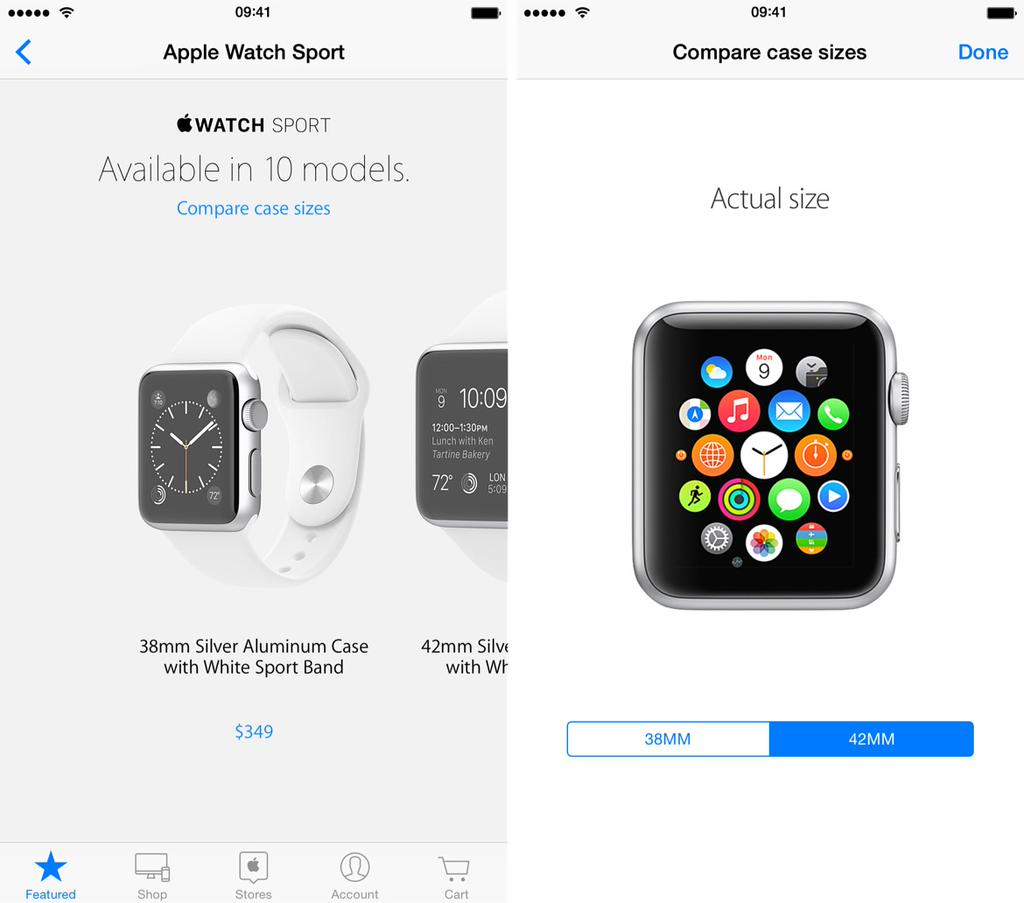 Apple Store app compare Apple Watch case sizes