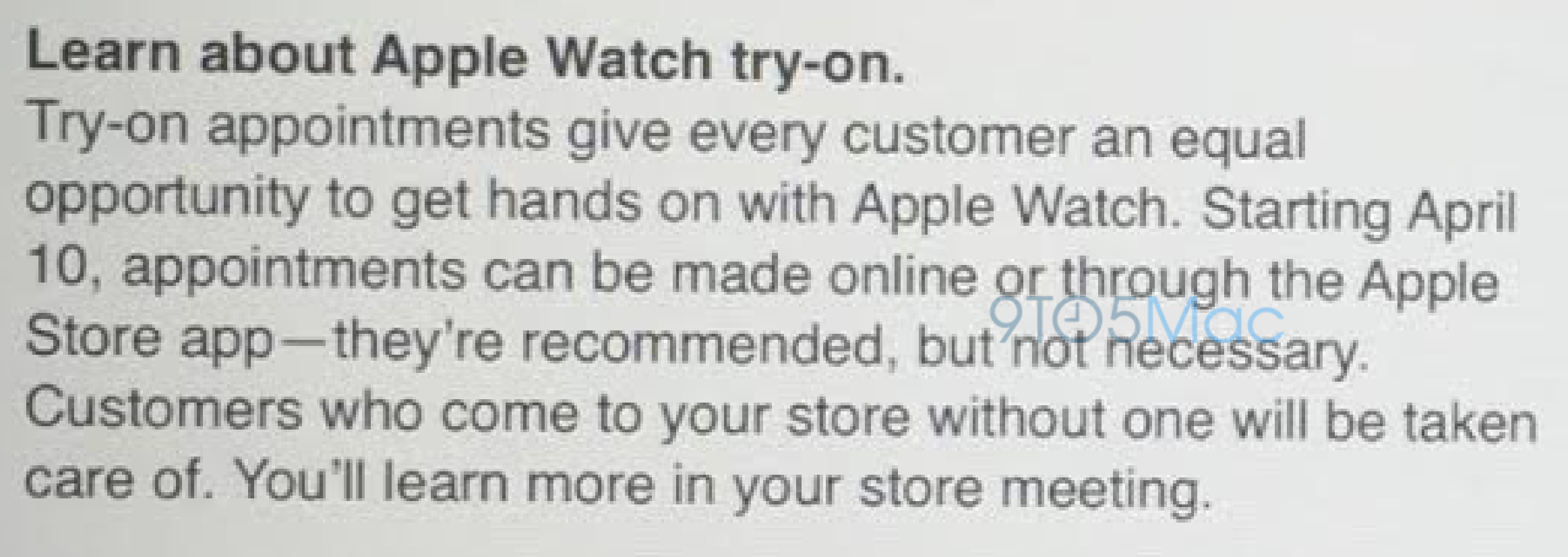 Apple Watch try-on appointments notice