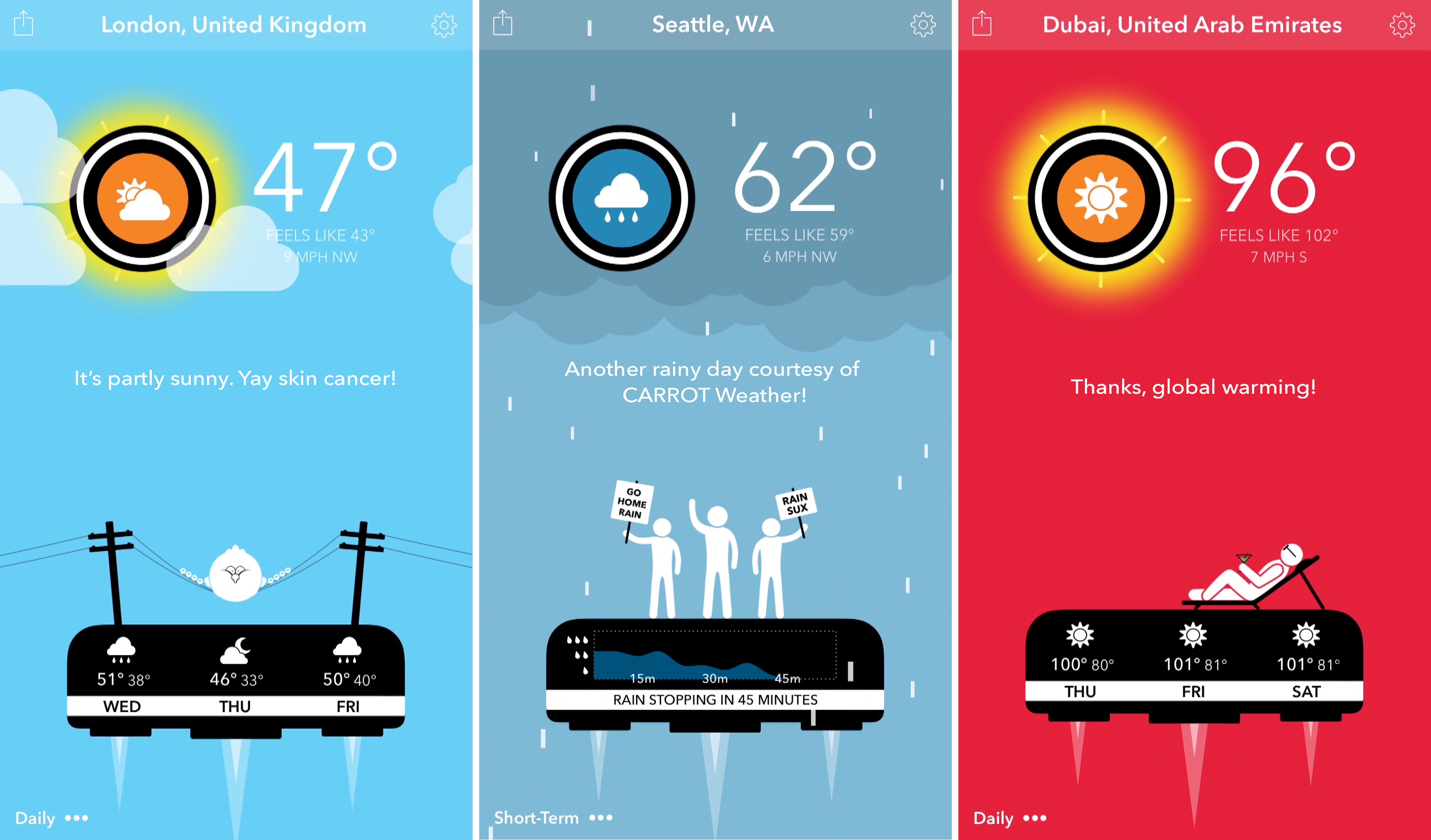 Carrot Weather 1.0 for iOS iPhone screenshot 004