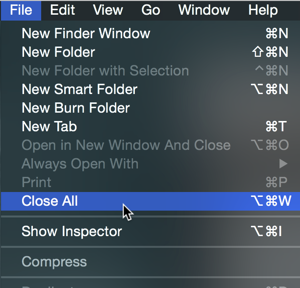 Close All Finder Windows Menu Bar