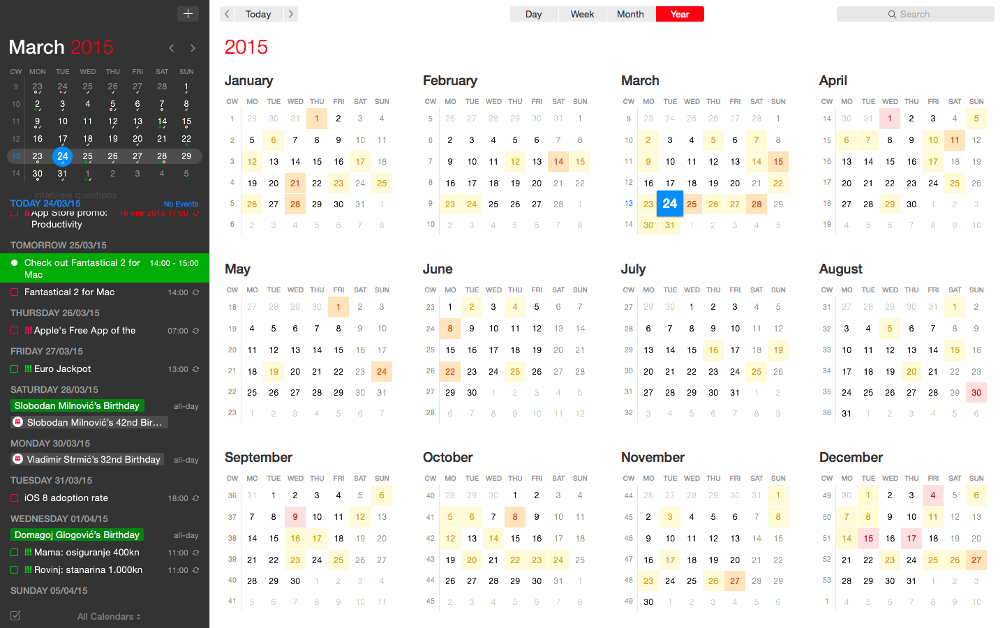 Fantastical 2 for Mac full screen