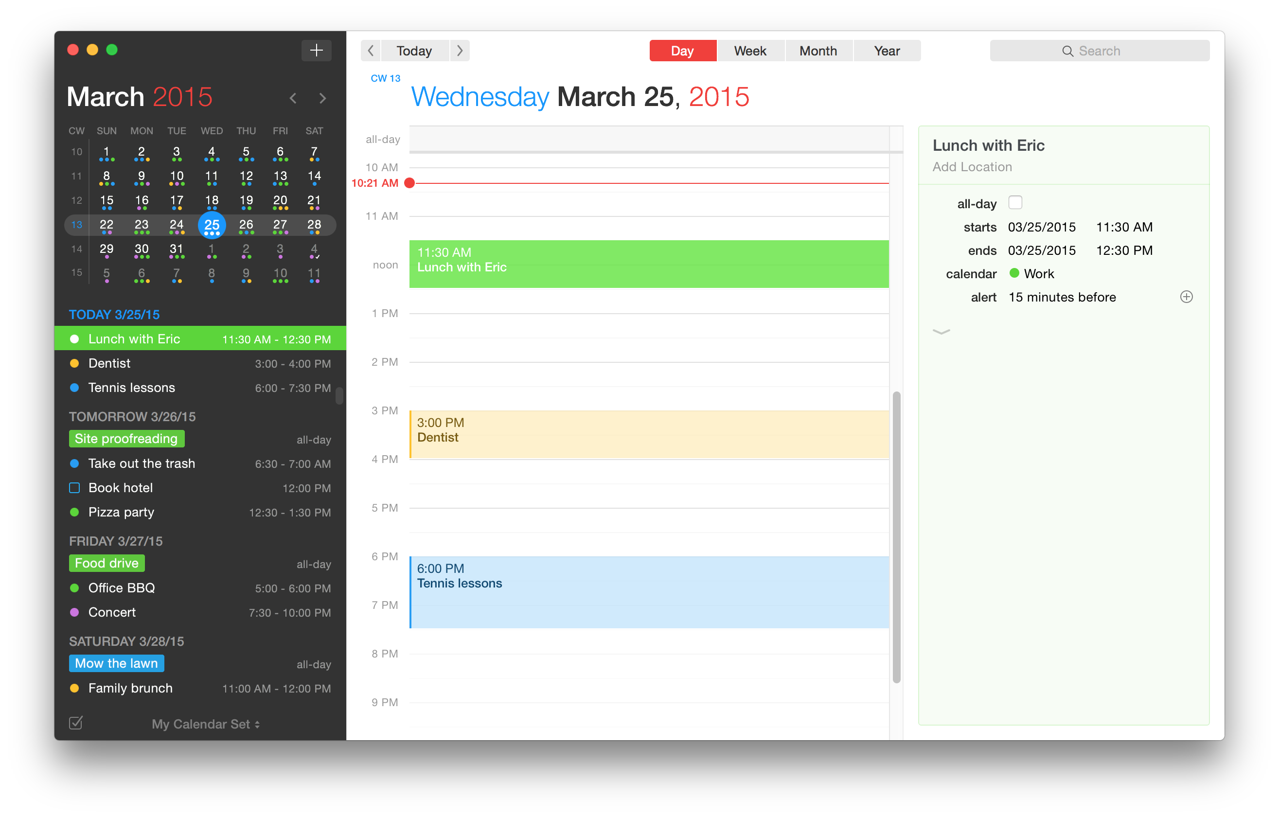 Fantastical 2 para OS X Day View Mac captura de pantalla