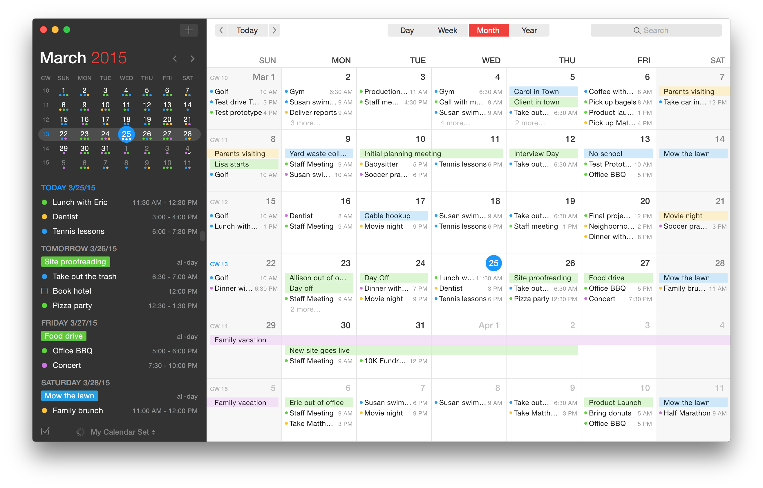 Fantastical 2 for OS X Month View Mac screenshot